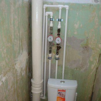 Разводка труб + установка счетчиков воды